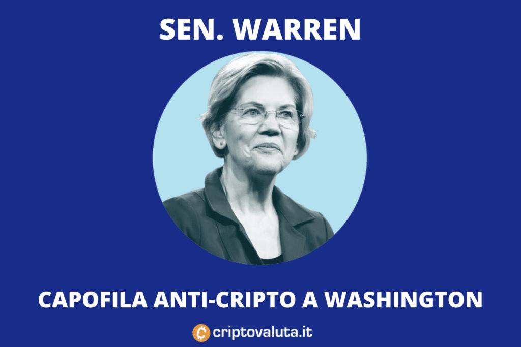 Warren Senatrice anti-cripto - di Criptovaluta.it