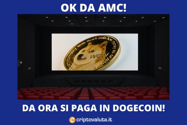 Dogecoin pagamento AMC - di Criptovaluta.it
