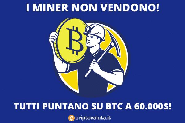 Bitcoin dei miner - accumulazione continua